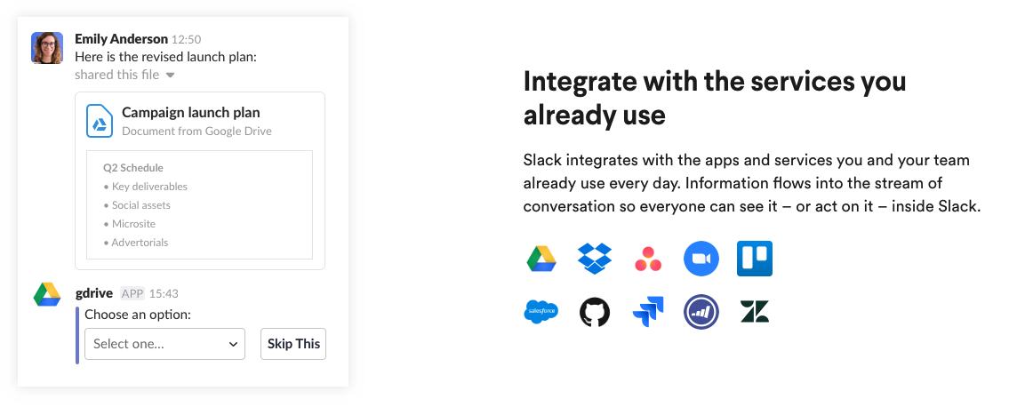 Slack Landing Page Integrations