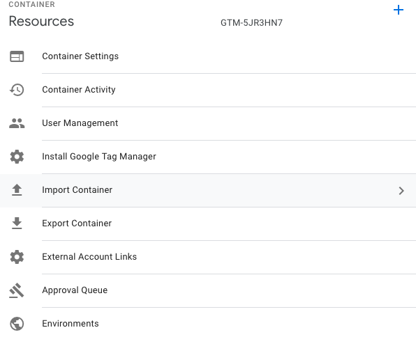 GTM Admin Screen