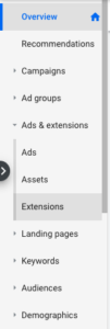 Ad Extensions Menu